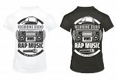 Vintage Rap Music Prints Template With Inscriptions Recorder Microphone Cap On Black And White Shirt poster