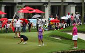 KUALA LUMPUR, MALAYSIA - OCTOBER 16: Aman Blumenherst (black) prepares for her putt on day 4 of the