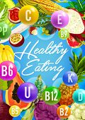 Vitamin Food Sources Poster Of Healthy Eating Concept. Fresh Fruit, Vegetable And Berry With Organic poster