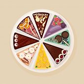Sweet Cake Or Tart Divided Into Eight Parts With Various Tastes And Toppings. Delicious Baked Confec poster