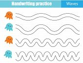 Handwriting Practice Sheet. Educational Children Game, Printable Worksheet For Kids. Tracing Waves poster