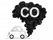 Vector Artistic Pen And Ink Drawing Illustration Of Smoke Coming From Car Exhaust Into Air. Environm poster
