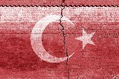 cracked brick wall as Turkey flag, symbolize the recent earthquake