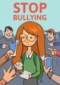 Stop School Bullying Poster. Phones And Fingers Pointing At Schoolgirl Surrounded By Laughing Bullie poster