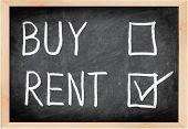 Rent not buy blackboard concept. Choosing renting over buying.