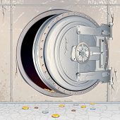 Opened Bank Vault Door with an empty Storage, Depository. Conceptual Illustration for Financial Cris