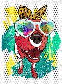 Dog Vector Portrait. Fashion T-shirt. Fun Image. Cool Graffiti. poster