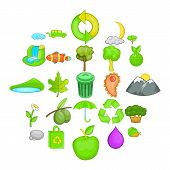 Environmental Pollution Icons Set. Cartoon Set Of 25 Environmental Pollution Vector Icons For Web Is poster