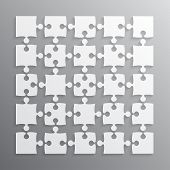 25 White Puzzle Pieces - Jigsaw. Vector Illustration For Web Design. Vector Object. Puzzle Business  poster