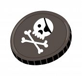 Pirate Black Mark Icon. Children Drawing Of Pirate Concept Illustration Isolated On White Background poster