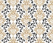 Wallpaper In The Style Of Baroque. A Seamless Vector Background. Black And Gold Floral Ornament. Gra poster