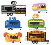 Street Fast Food Truck Set. Taco, Hot Dog, Donuts, Beer, Bbq And Bar Outdoor Cafe Service. Culinary  poster