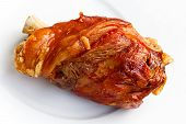 fresh roasted pork hock (Shank)  on a white background
