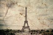 Eiffel Tower In Paris. Vintage View Background. Tour Eiffel Old Retro Style Photo With Cracks Crumpl poster