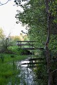 Peaceful View By A Small Stream With An Old Footbridge At The Swedish Island Oland poster