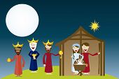 image of magi  - manger with magi over ladscape night - JPG