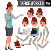 Office Worker Vector. Woman. Successful Officer, Clerk, Servant. Business Woman Worker. Face Emotion poster