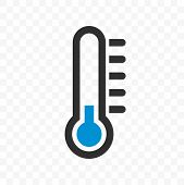 Thermometer Vector Icon With Blue Cold Low Temperature Scale For Weather Or Medicine poster