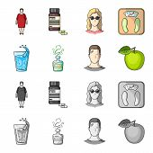 A Glass Of Water, A Bottle Of Alcohol, A Sweating Man, An Apple. Diabeth Set Collection Icons In Car poster