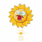 Vector Funky Cartoon Summer Sun Character Isolated On White Background. My Name Is Sun Concept Illus poster