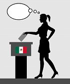 Mexican Voter Young Woman Voting For Election In Mexico With Thought Bubble. All The Silhouette Obje poster