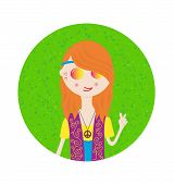 Beautiful Hippie Girl Cute Sticker In Bright Colors. Cartoon Style poster