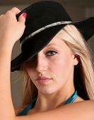 stock photo of ballet dancer  - teen dancer with black hat on - JPG