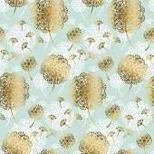 Turquoise And Gold Abstract Dandelion Flower Seamless Pattern For Background, Wrapping Paper, Fabric poster