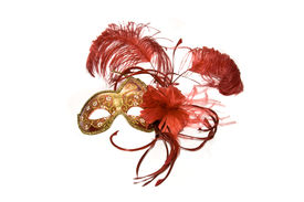 foto of mardi gras mask  - Venetian mask red with gold isolated on white - JPG