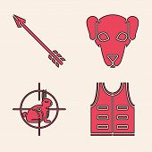 Set Hunting Jacket, Hipster Arrow, Hunting Dog And Hunt On Rabbit With Crosshairs Icon. Vector poster