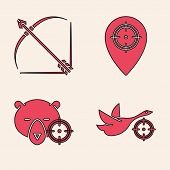 Set Hunt On Duck With Crosshairs, Bow And Arrow In Quiver, Hunt Place And Hunt On Bear With Crosshai poster