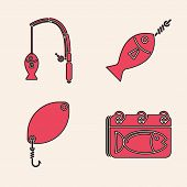Set Calendar With A Fish, Fishing Rod And Fish, Fish On Hook And Fishing Spoon Icon. Vector poster