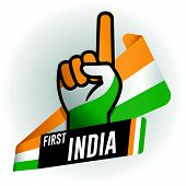 First India On Black Background And Hand With Raised Index Finger, With The Colors Of The Flag Of In poster