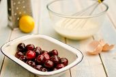 fresh cherries ready to bake in a clafoutis