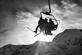 Whistler, British Columbia, Canada. People Going Up The Mountain On A Chairlift During A Vibrant And poster