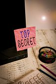 Handwriting Text Writing Top Secret. Concept Meaning Protected By A High Degree Of Secrecy Highly Co poster