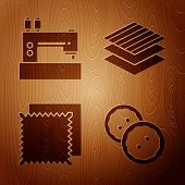 Set Sewing Button For Clothes, Sewing Machine, Textile Fabric Roll And Textile Fabric Roll On Wooden poster