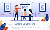 Cultural Volunteering In Art, History Museum Exposition Trendy Flat Vector Banner, Poster Template.  poster