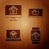 Set Smart Watch With Smart House And Light Bulb, Computer Monitor With Smart House And Light Bulb, L poster