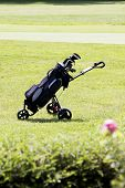Golfbag On A Golf Course In Summer