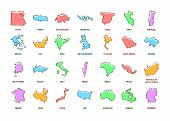 Countries Color Line Icons Set. Different World Countries From All Continents. Pictogram For Web Pag poster