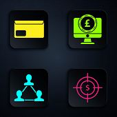 Set Target With Dollar Symbol, Envelope, Project Team Base And Computer Monitor With Pound Sterling poster