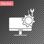 White Computer Monitor With Screwdriver And Wrench Icon Isolated On Transparent Background. Adjustin poster