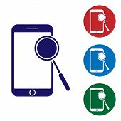 Blue Mobile Phone Diagnostics Icon Isolated On White Background. Adjusting App, Service, Setting Opt poster