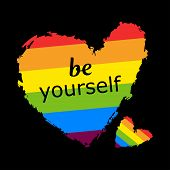 Be Yourself Lgbt Heart In Vector Format. Rainbow Heart. Lgbt Pride Month In June 2020. Lesbian Gay B poster
