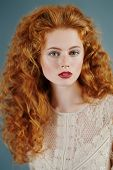 Beautiful young woman with long red hair. Hair care, hair coloring. poster