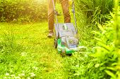 Man Cutting Green Grass With Lawn Mower In Backyard. Gardening Country Lifestyle Background. Beautif poster