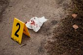 Crime Scene With Yellow Signs. Crimes Concept poster