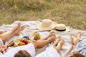 The Company Of Female Friends Relaxing On Summer Picnic. Summer Rural Style Picnic Concept. poster