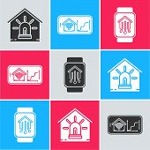 Set Smart House And Alarm, Mobile Phone With Smart Home With Wi-fi And Smart Home With Smart Watch I poster